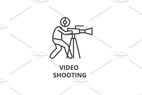 Video Shooting Thin Line Icon Sign Symbol Illustation Linear Concept Vector