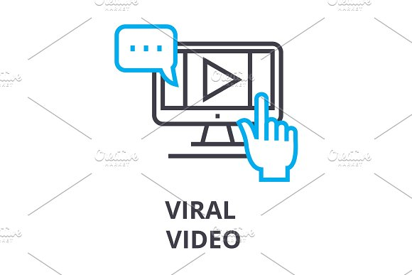 Viral Video Thin Line Icon Sign Symbol Illustation Linear Concept Vector