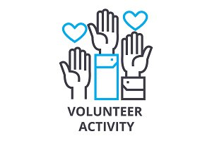 volunteer activity thin line icon, sign, symbol, illustation, linear concept, vector