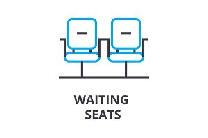 waiting seats thin line icon, sign, symbol, illustation, linear concept, vector