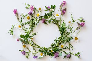 Wreath of field flowers and grasses