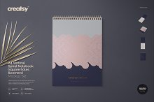 A4 Vertical Spiral Notebook Mockup by Creatsy 5 in Product Mockups