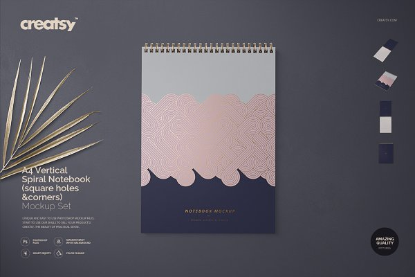 Product Mockups - A4 Vertical Spiral Notebook Mockup