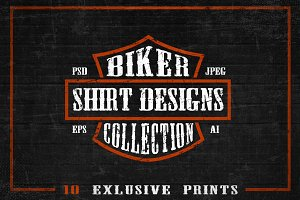 Set of Bikers Shirt Designs.