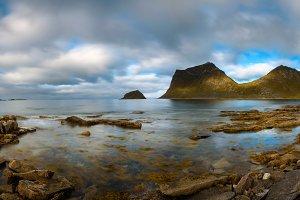 Panorama of Haukland beach on Lofoten islands in Norway