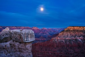 Night sky with full moon over Grand Canyon