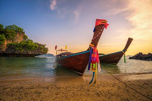 Thai longtail boats parked at the Koh Hong island in Thailand
