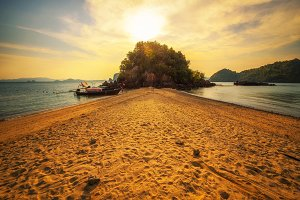 Sunset over Laopilae archipelago around Ko Hong island near Krabi in Thailand