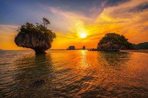 Sunset over Laopilae archipelago around Ko Hong island near Krabi, Thailand