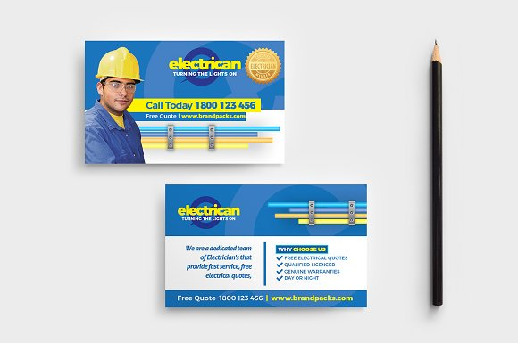 electrician templates pack flyer templates creative market - Electrician Business Cards