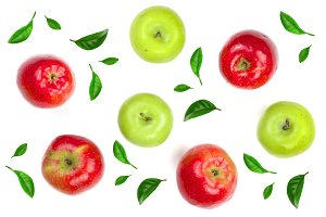 red and green apples decorated with green leaves isolated on white background top view. Flat lay pattern