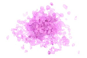 Violet sea salt isolated on white background, lavender. Top view. Flat lay