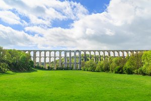 Landscape of Chaumont Viaduct, France. Important railroad line Paris-Basel