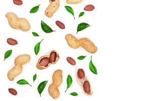 Peanuts with shells decorated with green leaves isolated on white background with copy space for your text, top view