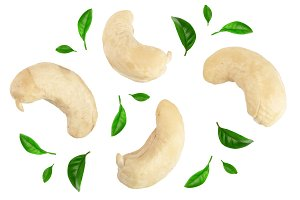 cashew nuts decorated with green leaves isolated on white background. top view. Flat lay. Set or collection