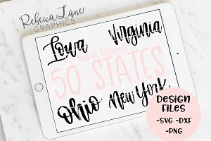 Hand Lettered 50 States SVG DXF PNG