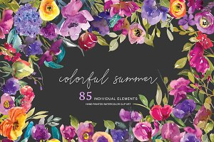 Watercolor Colorful Floral Clipart