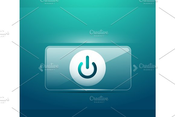 glass transparent effect power start button on off icon vector ui or app symbol