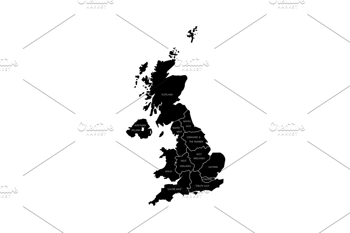 Map Of Uk With Regions.United Kingdom Uk Regions Map Black