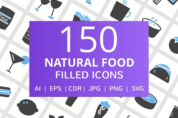 150 Natural Food Filled Icons