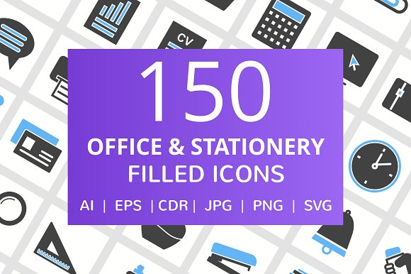 150 Office Stationery Filled Icons
