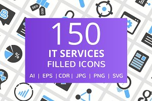 150 IT Services Filled Line Icons
