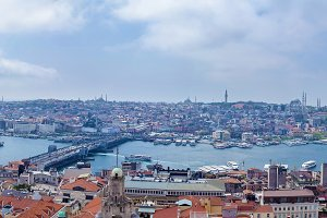 Panoramic image of Istanbul with Galata Bridge and Yeni Cami Mosque