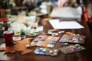 artist's studio samples of enamels