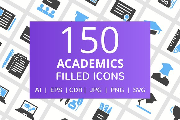 150 Academics Filled Icons