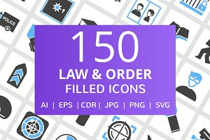 150 Law & Order Filled Icons