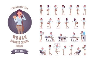 Young business casual woman ready-to-use character set