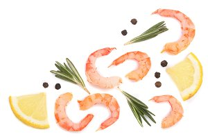 Red cooked prawn or shrimp with rosemary and lemon isolated on white background with copy space for your text. Top view