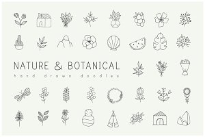 Hand drawn nature & plants doodles