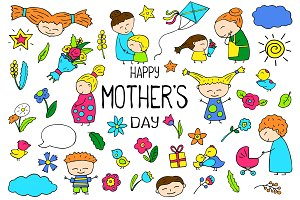Happy Mother's Day Vector Set