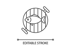 Fish on barbecue grill linear icon