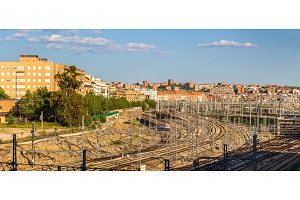 View of Madrid with Atocha railway station - Spain