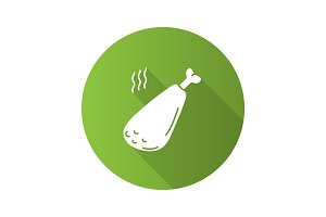 Hot fried chicken leg flat design long shadow glyph icon