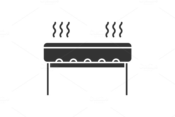 Charcoal Barbecue Grill Glyph Icon
