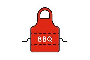 Barbecue apron color icon