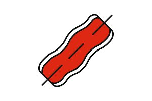 Bacon strip on skewer color icon