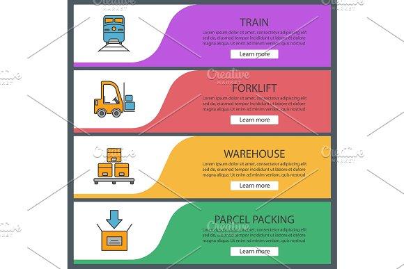 Cargo Shipping Web Banner Templates Set