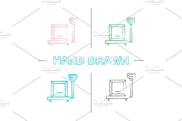 Parcel Scales Hand Drawn Icons Set
