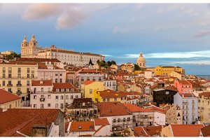 Evening view of Lisbon - Portugal