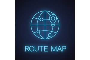 International route map neon light icon