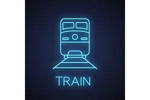 Train neon light icon