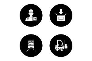 Cargo shipping glyph icons set