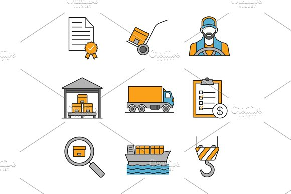 Cargo Shipping Color Icons Set