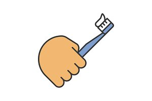 Hand holding toothbrush color icon