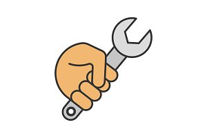 Hand holding wrench color icon