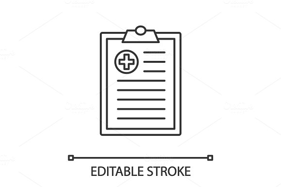 Medical report linear icon